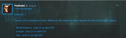 暗黑破壞神3第20賽季什么時候結算